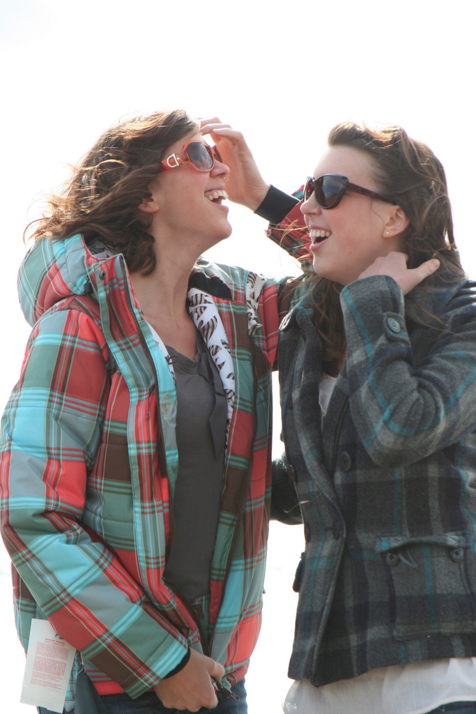 Ashley and Melissa try to keep the wind from messing their hair