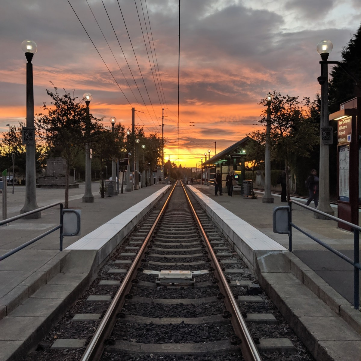 Sunrise at the MAX stop